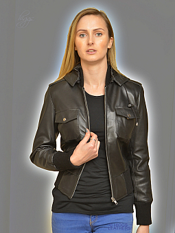 Higgs Leathers HALF PRICE!  Beeps (ladies black leather hooded bomber jacket)